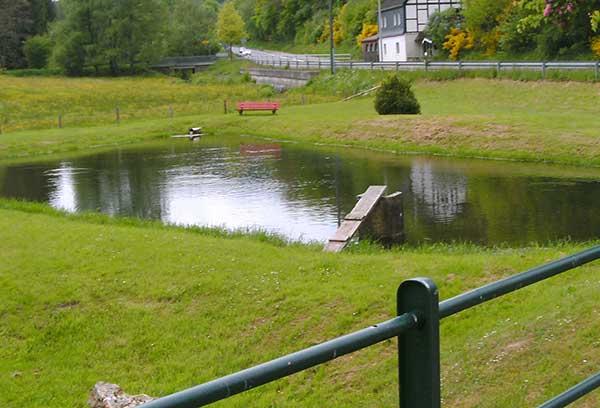 Unser Spielplatz und unser Teich für die kleinen Gäste